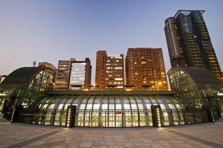 the new MRT station (Daan Park Station)shinning at night in Taipei