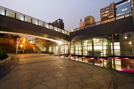 the new MRT station (Daan Park Station)shinning at night in Taipei photo