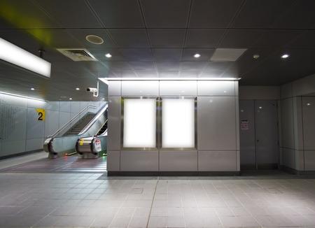 Blank billboard in metro station(modern public space)