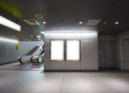 Blank billboard in metro station(modern public space)