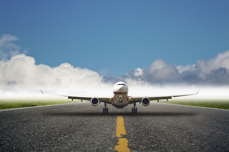 depart: Business plane at airport Stock Photo