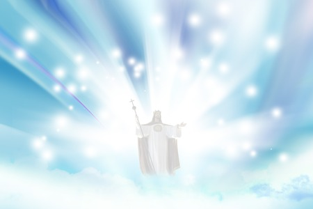 Jesus Christ in blue sky with clouds  photo