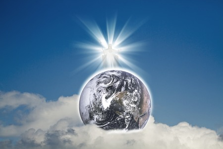 Jesus Christ in blue sky with white clouds and blue planet Earth