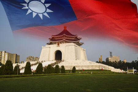 chiang kai shek memorial hall with the flag of Republic of China(Taiwan)