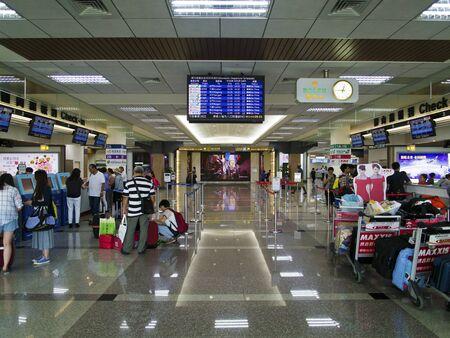 airport check in counter: Taipei, Taiwan - JUNE 27, 2015: Check in Counter in Taipei Songshan Airport on June 27,2015 in Taipei,Taiwan.