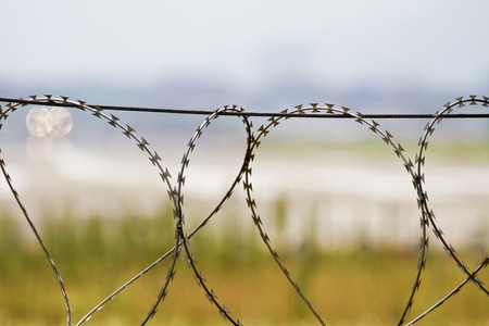 prison fence: Prison fence, security wall Stock Photo