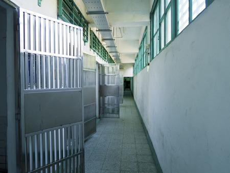 prison cell: Taipei, Taiwan - 29 juillet 2015: Prison prison couloir Jing-Mei droits de l'homme Memorial et Parc culturel, il était le centre de détention militaire Jingmei pour les dissidents politiques pendant la période Terreur blanche. Éditoriale