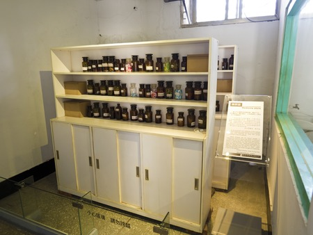 Taipei, Taiwan - JULY 29, 2015: Medicine room in Jing-Mei Human Rights Memorial and Cultural Park ,it was Jingmei Military Detention Centre for political dissidents during the White Terror period. Editorial