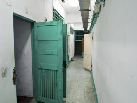 imprison: Taipei, Taiwan - JULY 29, 2015: Prison jail corridor in  Jing-Mei Human Rights Memorial and Cultural Park ,it was Jingmei Military Detention Centre for political dissidents during the White Terror period. Editorial