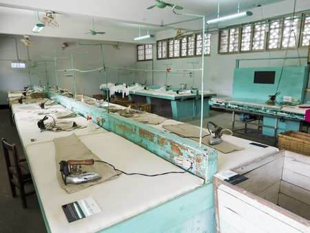 Taipei, Taiwan - JULY 29, 2015: Ironing Room in Jing-Mei Human Rights Memorial and Cultural Park ,it was Jingmei Military Detention Centre for political dissidents during the White Terror period.