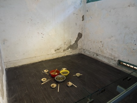 Taipei, Taiwan - JULY 29, 2015: prison cell in Jing-Mei Human Rights Memorial and Cultural Park ,it was Jingmei Military Detention Centre for political dissidents during the White Terror period.
