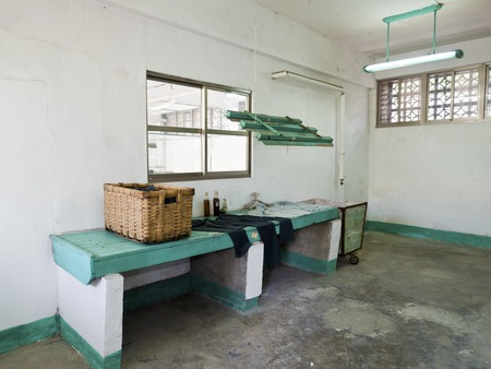 dissidents: Taipei, Taiwan - JULY 29, 2015: laundry in Jing-Mei Human Rights Memorial and Cultural Park ,it was Jingmei Military Detention Centre for political dissidents during the White Terror period.
