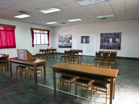 Taipei, Taiwan - JULY 29, 2015: Interior of law court in Jing-Mei Human Rights Memorial and Cultural Park ,it was Jingmei Military Detention Centre for political dissidents during the White Terror period. Editorial