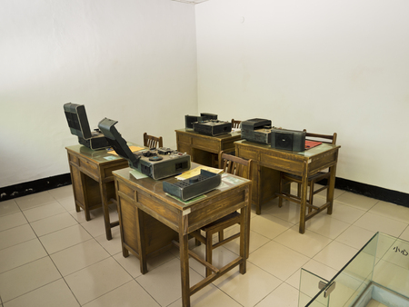 Taipei, Taiwan - JULY 29, 2015: voice recorder equipment room in Jing-Mei Human Rights Memorial and Cultural Park ,it was Jingmei Military Detention Centre for political dissidents during the White Terror period. Editorial