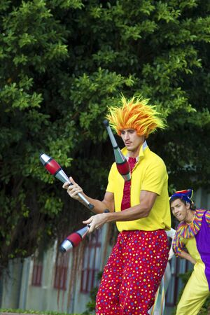New Taipei City, Taiwan - OCT 17, 2015: circus player performing in 435 Art Zone in Banqiao District. Editorial