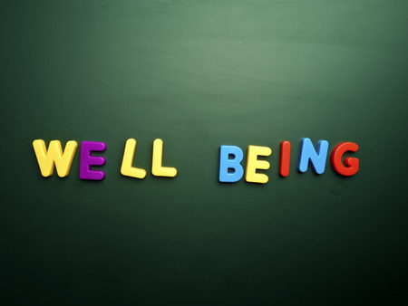 being: well being concept in colorful letters isolated on blank blackboard Stock Photo