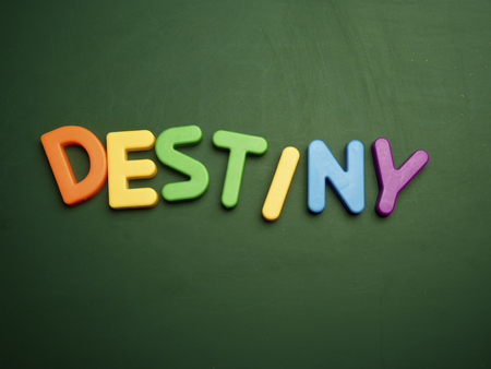 destiny: destiny concept in colorful letters isolated on blank blackboard Stock Photo