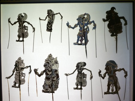 dramatic characters: Taipei, Taiwan - OCT 06, 2015: shadow puppetry play in Puppetry Art Center of Taipei.a type of opera using cloth puppets that originated during the 17th century in China.
