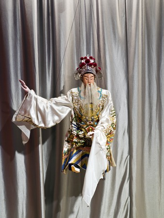 puppetry: Taipei, Taiwan - OCT 06, 2015: Glove puppetry in Puppetry Art Center of Taipei.a type of opera using cloth puppets that originated during the 17th century in China.