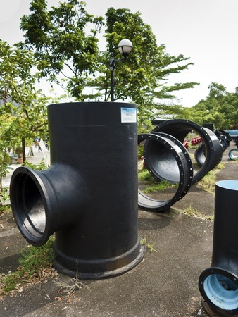 water transportation: Taipei, Taiwan - SEP 20, 2015:historic ground of water transportation and distribution materials display in Museum of Drinking Water.The museum building was originally built in 1908. It was declared a third-class historic site in 1993.
