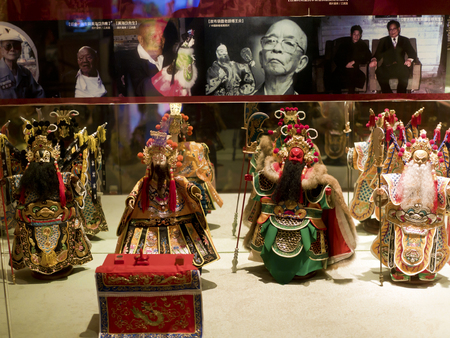 puppetry: Taipei, Taiwan - OCT 06, 2015: historic character Glove puppetry in Puppetry Art Center of Taipei.a type of opera using cloth puppets that originated during the 17th century in China.