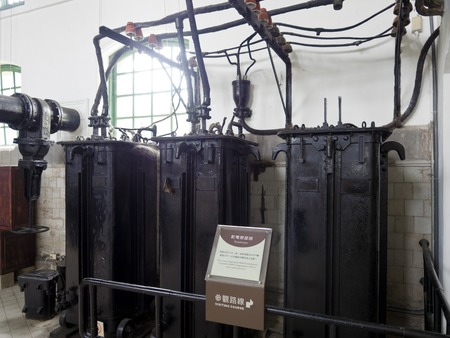 electromechanical: Taipei, Taiwan - SEP 20, 2015:historic electromechanical machine display in Museum of Drinking Water.The museum building was originally built in 1908. It was declared a third-class historic site in 1993. Editorial