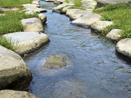 stepping: Rocky Stepping Stones along Da Gou Xi river,taipei,taiwan