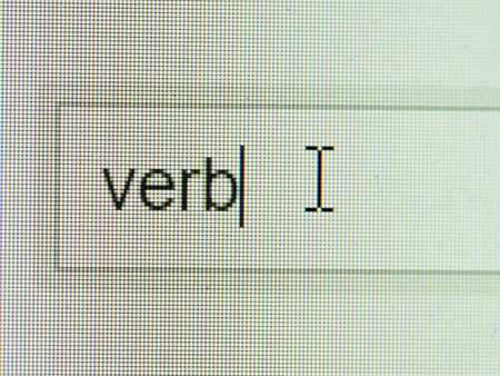 verb: Business and technology: verb text on screen with some copy space