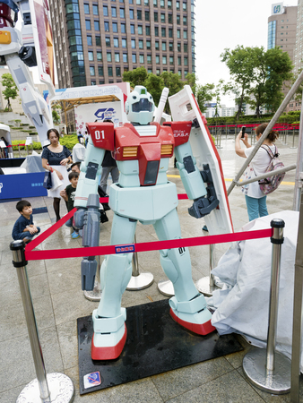 Taipei, Taiwan - 11 OCTOBER 2017. GUNDAM docks at TAIWAN. The scale 1:16 size model of Gundam robot in Taipei, Taiwan.