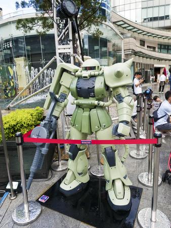 Taipei, Taiwan - 11 OCTOBER 2017. GUNDAM docks at TAIWAN. The scale 1:16 size model of Gundam robot in Taipei, Taiwan.
