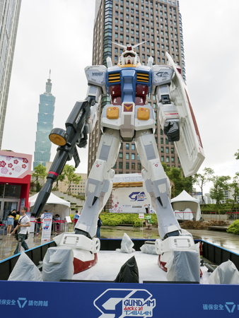 Taipei, Taiwan - 11 OCTOBER 2017. The legend of Gundam RX-78-2. The scale 1:3 size model of Gundam robot in Taipei, Taiwan. Editorial
