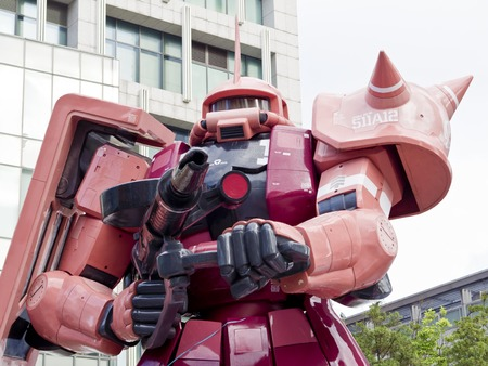 Taipei, Taiwan - 11 OCTOBER 2017. The legend of Gundam MS-06S ZAKU II .The scale 1:3 size model of Gundam robot in Taipei, Taiwan.