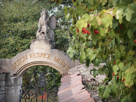 ancestors: Sculpture of an angel, Remember customs of ancestors and viburnum. The inscription avorum respice mores over the gates in Latin.