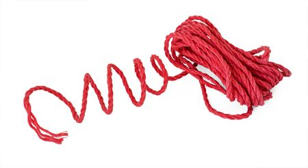 The red violaceous rope cord tie line in the coil photo