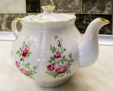 red pink: Porcelain ancient teapot - white and red pink flowers