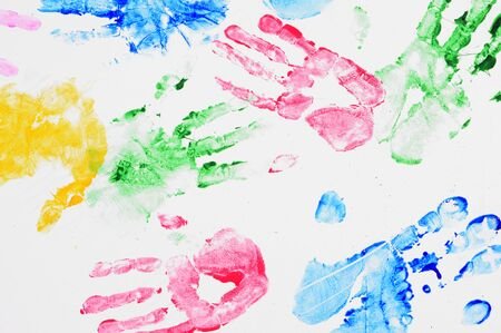 colourfull: Background hand prints colourfull red green yellow Stock Photo