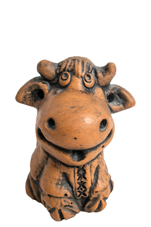 purl: Ceramic brown clay Ukrainian Cow  with embroidery, fancywork, purl