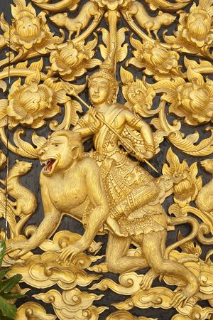 thai art in temple of in thailand photo