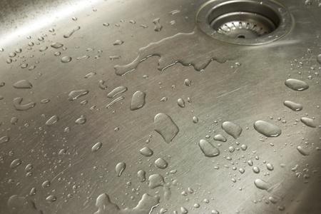 water on steel Stock Photo