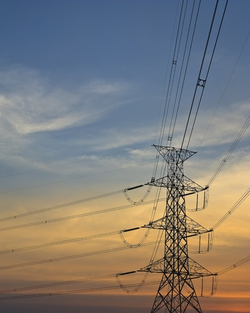 electric grid: electricity post Stock Photo
