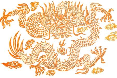 gold dragon on white background