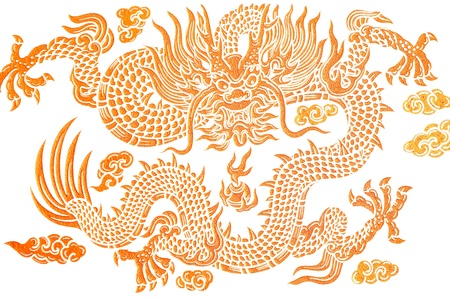 asian: gold dragon on white background