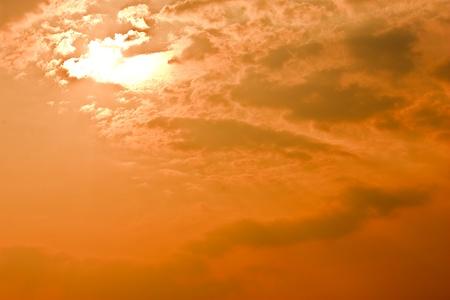Cloudy orange sunset Stock Photo - 9522991