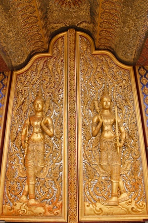 Carved temple doors. photo