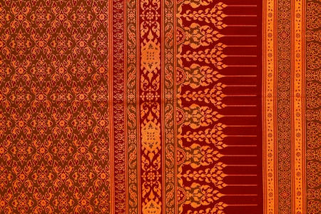blue silk: Thai patterns. Stock Photo