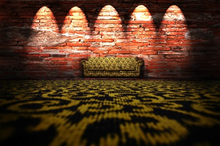 Sofa, rug on the floor in front of a brick wall. Stock Photo - 9913910