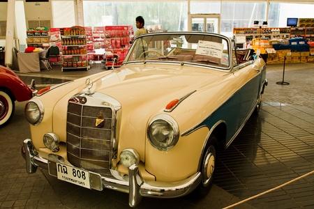 classical mechanics: Future Park Rangsit - June 23: Mercedes-benz 220S Cabriolet,1958 Year.Vintage Car Concours 2011 at Future Park Rangsit, June 23, 2011 in Bangkok, Thailand.