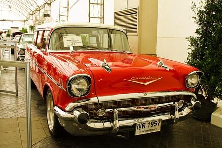 classical mechanics: Future Park Rangsit - June 23: Chevrolet Belair Custom,1955 Year.Vintage Car Concours 2011 at Future Park Rangsit, June 23, 2011 in Bangkok, Thailand.