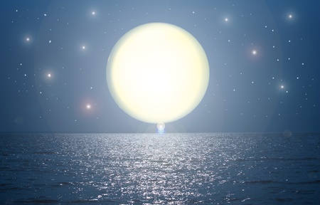 romantic background: moon over sea