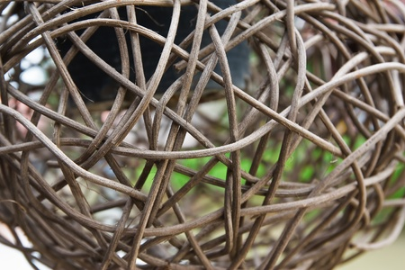 entwined: Woven wicker or bamboo balls